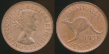 World Coins - Australia, 1958(p) One Penny, 1d, Elizabeth II - Uncirculated