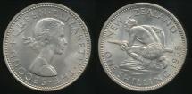 World Coins - New Zealand, 1965 Shilling, Elizabeth II - Choice Uncirculated