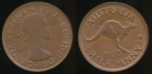 World Coins - Australia, 1953(p) Halfpenny, 1/2d, Elizabeth II - Extra Fine