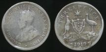World Coins - Australia, 1919(m) Threepence, 3d, George V (Silver) - Good
