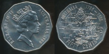 World Coins - Australia, 1988 Fifty Cents, 50c, Elizabeth II (Bicentennial) - Uncirculated