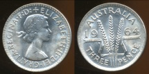 World Coins - Australia, 1964 Threepence, Elizabeth II - Choice Uncirculated