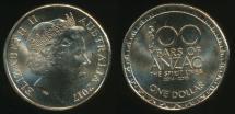 World Coins - Australia, 2017 One Dollar, $1, Elizabeth II (100 Years of ANZAC) - Uncirculated