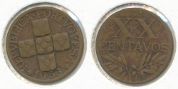 World Coins - PORTUGAL - 1953, 20 Centavos, KM# 584