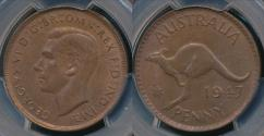 World Coins - Australia, 1947(m) One Penny, 1d, George VI - PCGS MS64BN (Ch-Unc)
