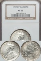 World Coins - India, British India, 1919(b) Silver Rupee, George V - NGC MS62