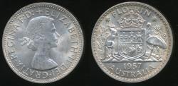 World Coins - Australia, 1957 Florin, 2/-, Elizabeth II (Silver) - aUNC/UNC
