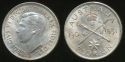 World Coins - Australia, 1951 Florin, 2/-, George VI (Jubilee)(Silver) - almost Uncirculated