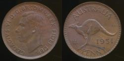World Coins - Australia, 1951(m) One Penny, 1d, George VI - Uncirculated