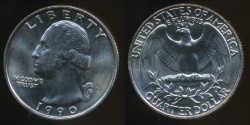 World Coins - United States, 1990-D Quarter, 1/4 Dollar, Washington - Uncirculated
