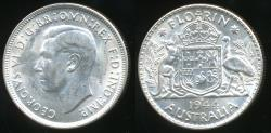 World Coins - Australia, 1944(s) Florin, 2/-, George VI (Silver) - almost Uncirculated