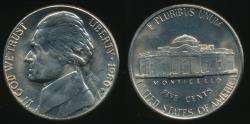 World Coins - United States, 1980-D 5 Cents, Jefferson Nickel - Uncirculated