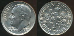 World Coins - United States, 1989-P Dime, Roosevelt - Choice Uncirculated