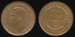 World Coins - Australia, 1939 Halfpenny, 1/2d, George VI - Uncirculated