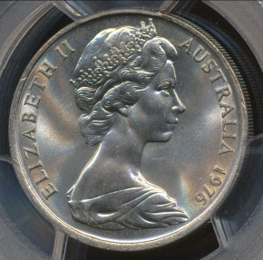 World Coins - Australia, 1976 Twenty Cents, 20c, Elizabeth II - PCGS MS66