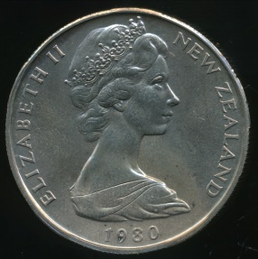 World Coins - New Zealand, 1980 Fifty Cents, 50c, Elizabeth II - Choice Uncirculated