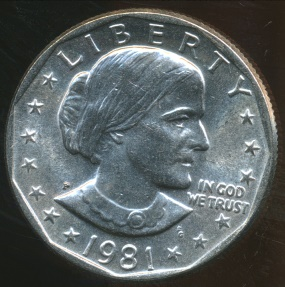 World Coins - United States, 1981-P One Dollar, Susan B. Anthony - Uncirculated