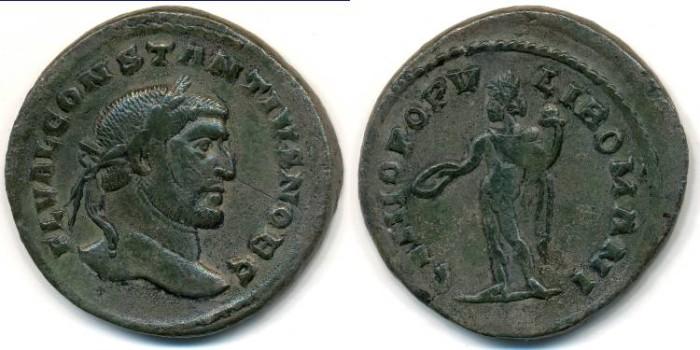 Ancient Coins - CONSTANTIUS I, As Caesar, AE Follis, AD 293-306, Lugdunum mint, (28mm, 9.51 g) - RIC VI 17a