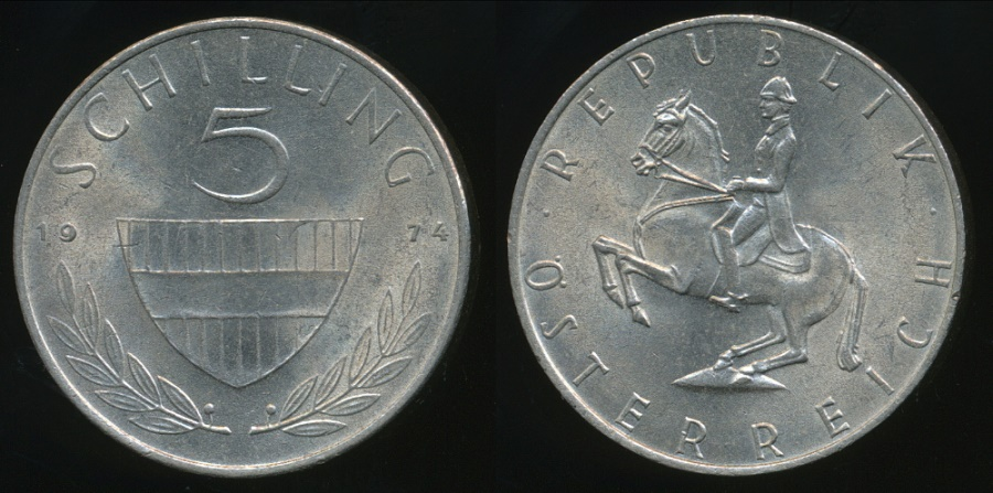 World Coins - Austria, Republic, 1974 5 Schilling - almost Uncirculated