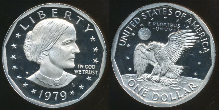 World Coins - United States, 1979-S One Dollar, Susan B. Anthony (type 1) - Proof