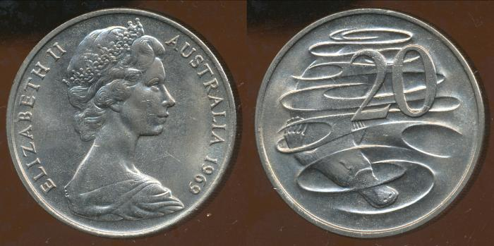World Coins - Australia, 1969 Canberra 20 Cent, Elizabeth II - Uncirculated
