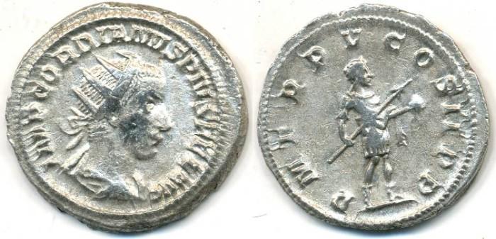 Ancient Coins - GORDIAN III, AR Antoninianus, AD 238-244, (23mm, 4.65 g) Rome mint - RIC 93