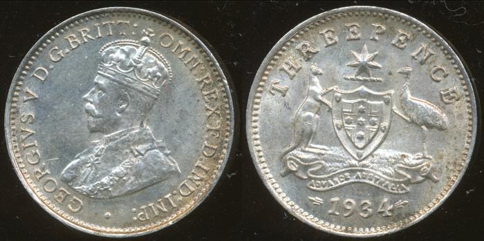 World Coins - AUSTRALIA - 1934 Threepence, George V - Ch-Unc