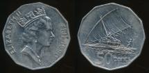 Fiji, Republic, 1990 50 Cents, Elizabeth II - Very Fine