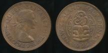 World Coins - New Zealand, 1965 Halfpenny, 1/2d, Elizabeth II - Uncirculated