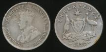World Coins - Australia, 1922 Threepence, 3d, George V (Silver) - Good