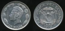 World Coins - Ecuador, Republic, 1970 1 Sucre - Uncirculated