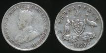 World Coins - Australia, 1927 Threepence, 3d, George V (Silver) - Very Good