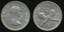 World Coins - New Zealand, 1957 Threepence, 3d, Elizabeth II - almost Uncirculated