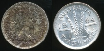 World Coins - Australia, 1964 Threepence, 3d, Elizabeth II (Silver) - Uncirculated