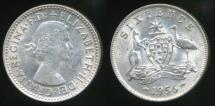 World Coins - Australia, 1956 Sixpence, 6d, Elizabeth II (Silver) - Extra Fine