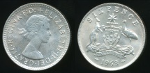 World Coins - Australia, 1963 Sixpence, 6d, Elizabeth II (Silver) - Uncirculated