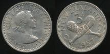 World Coins - New Zealand, 1957 Threepence, 3d, Elizabeth II - Uncirculated