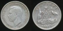 World Coins - Australia, 1942(d) Sixpence, 6d, George VI (Silver) - Fine
