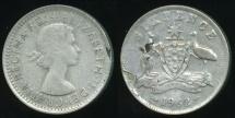 World Coins - Australia, 1962 Sixpence, 6d, Elizabeth II (Planchet Flaw)(Silver) - good Fine