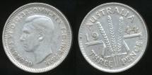 World Coins - Australia, 1944(s) Threepence, 3d, George VI (Silver) - Very Fine