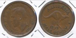 World Coins - Australia, 1945(p) Halfpenny, 1/2d, George VI - Fine