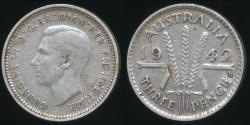 World Coins - Australia, 1942-D Threepence, 3d, George VI (Silver) - Fine