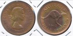 World Coins - Australia, 1962(p) Halfpenny, 1/2d, Elizabeth II - Choice Uncirculated