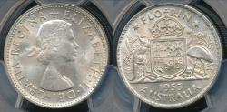 World Coins - Australia, 1953(m) Florin, 2/-, Elizabeth II (Silver) - PCGS MS63 (Ch-Unc)