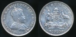 World Coins - Australia, 1910 One Shilling, 1/-, Edward VII (Silver) - Uncirculated