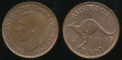 World Coins - Australia, 1949(m) One Penny, 1d, George VI - Uncirculated
