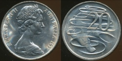 World Coins - Australia, 1977 Canberra 20 Cent, Elizabeth II - Uncirculated