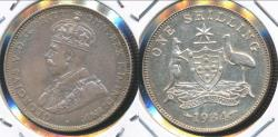 World Coins - Australia, 1934 One Shilling, 1/-, George V (Silver) - Extra Fine