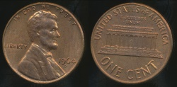 World Coins - United States, 1964-D One Cent, Lincoln Memorial - Uncirculated