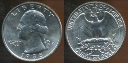 World Coins - United States, 1988-D Quarter, 1/4 Dollar, Washington - Uncirculated